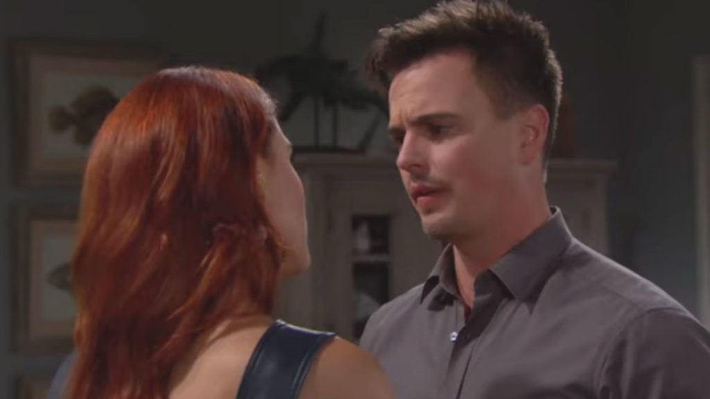 Courtney Hope and Darin Brooks as Sally and Wyatt on The Bold and the Beautiful.