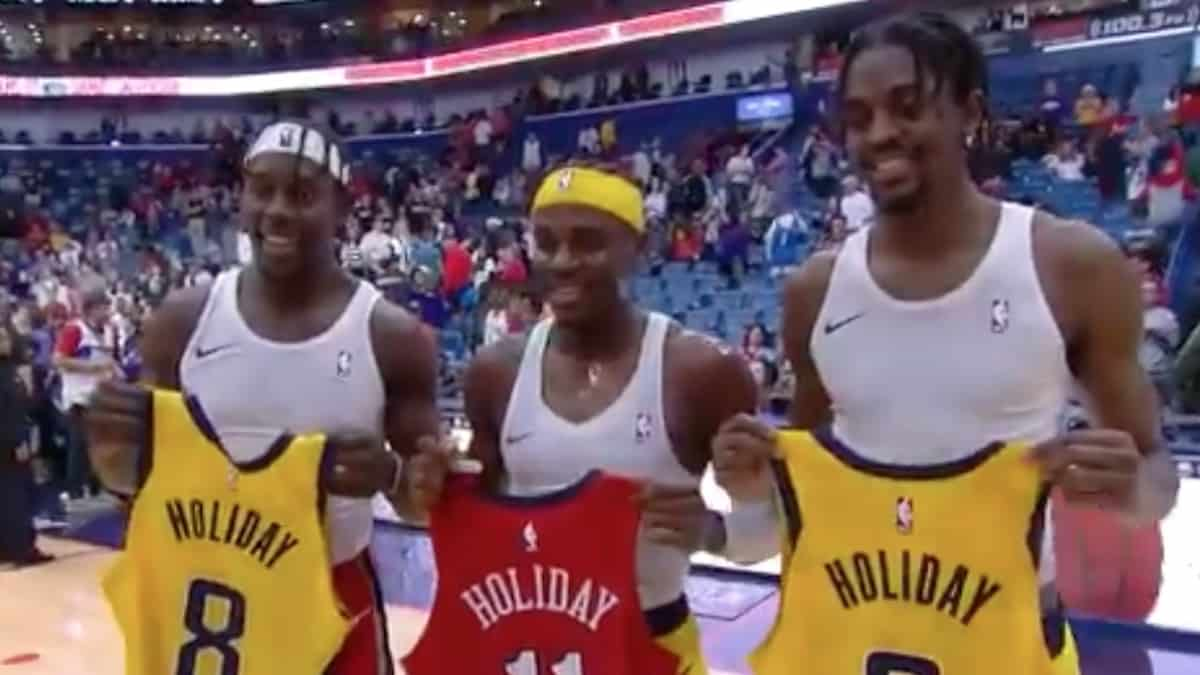 holiday brothers participate in pacers vs pelicans game