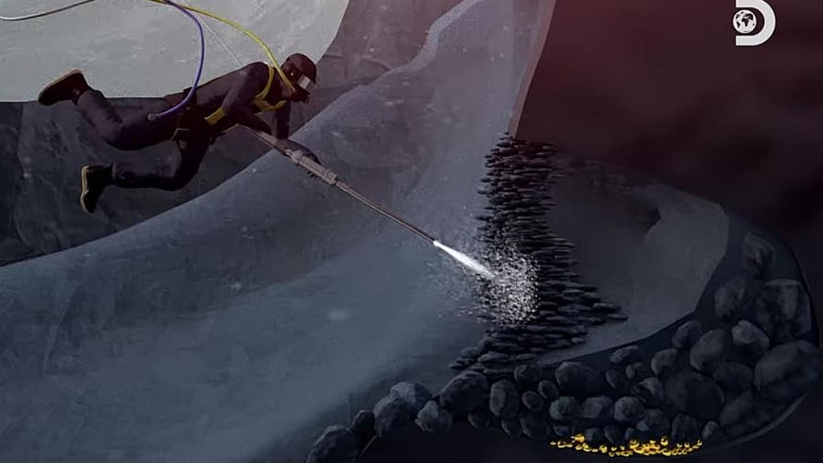 This animation from our clip shows the logistics of the hidden cave. Pic credit: Discovery