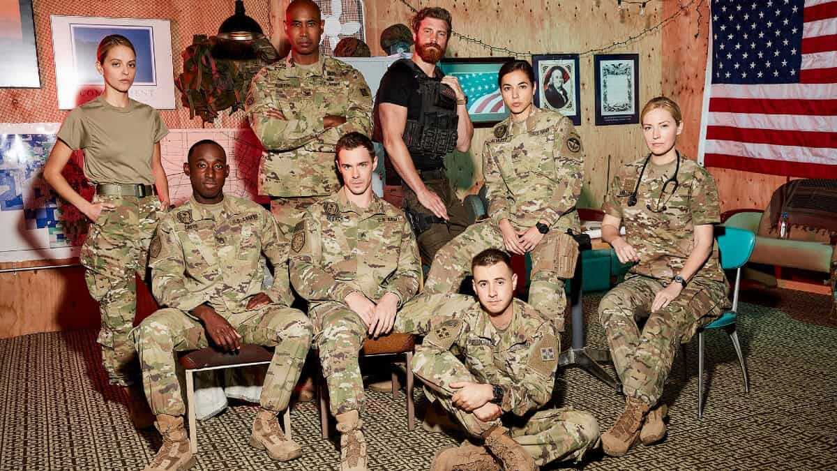 The cast of 68 Whiskey, a new war dramedy that focuses on Afghanistan. Pic credit: Paramount Network.