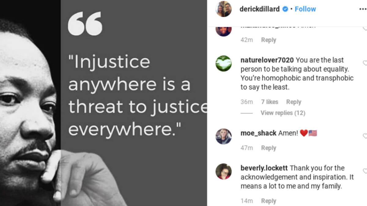 Derick Dillard shared an MLK post on Instagram.