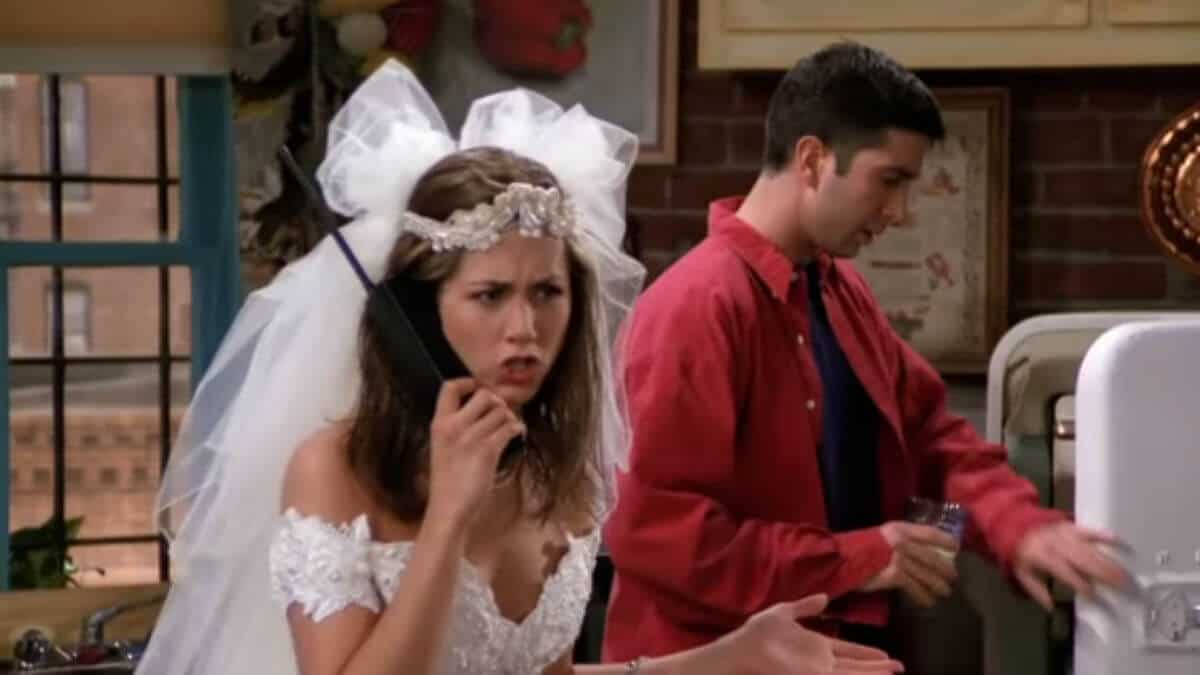 Jennifer Aniston and David Schwimmer as Rachel and Ross on Friends.
