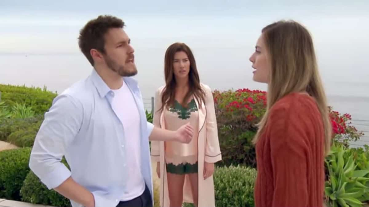 Scott Clifton, Annika Noell, and Jacqueline MacInnes Wood as Liam, Hope, and Steffy on The Bold and the Beautiful.