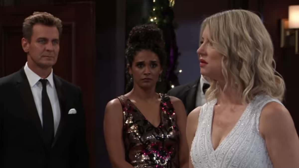 Nina at her wedding while talking to Nikolas on General Hospital.