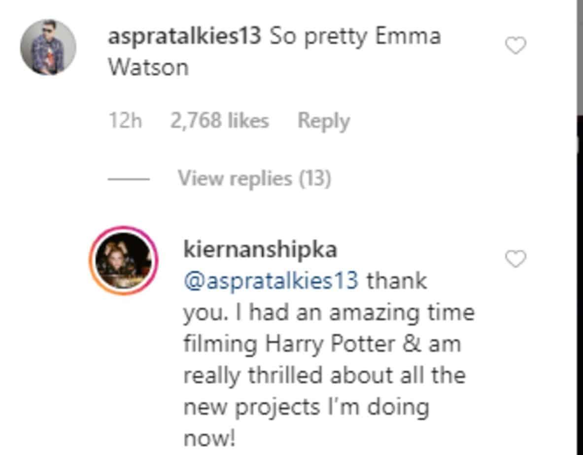 Kiernan's comment on Instagram