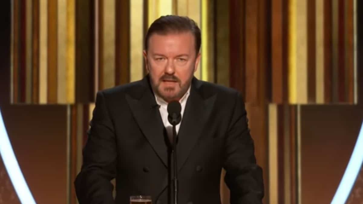 Ricky Gervais giving his monologue at Golden Globes