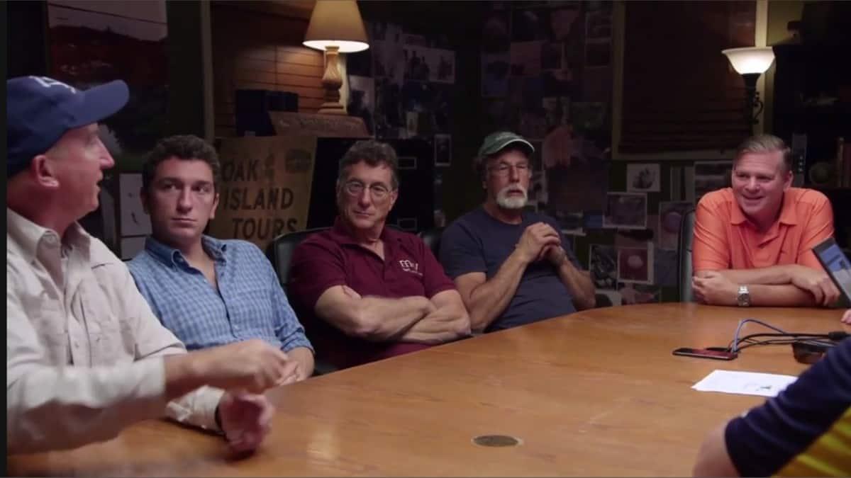 The Oak Island team sat in the War Room