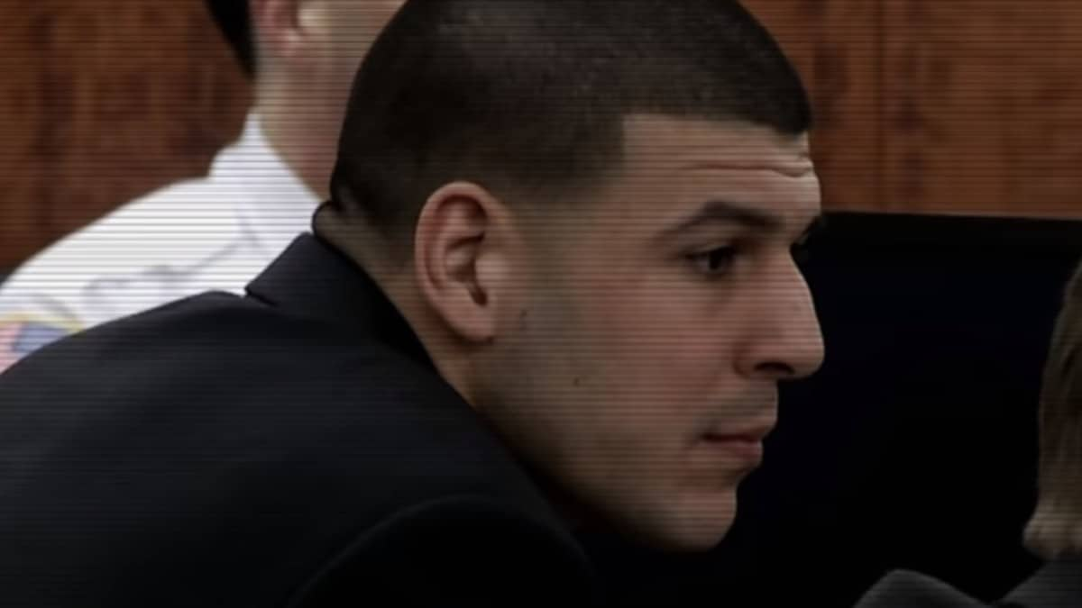 Aaron Hernandez pictured on trial