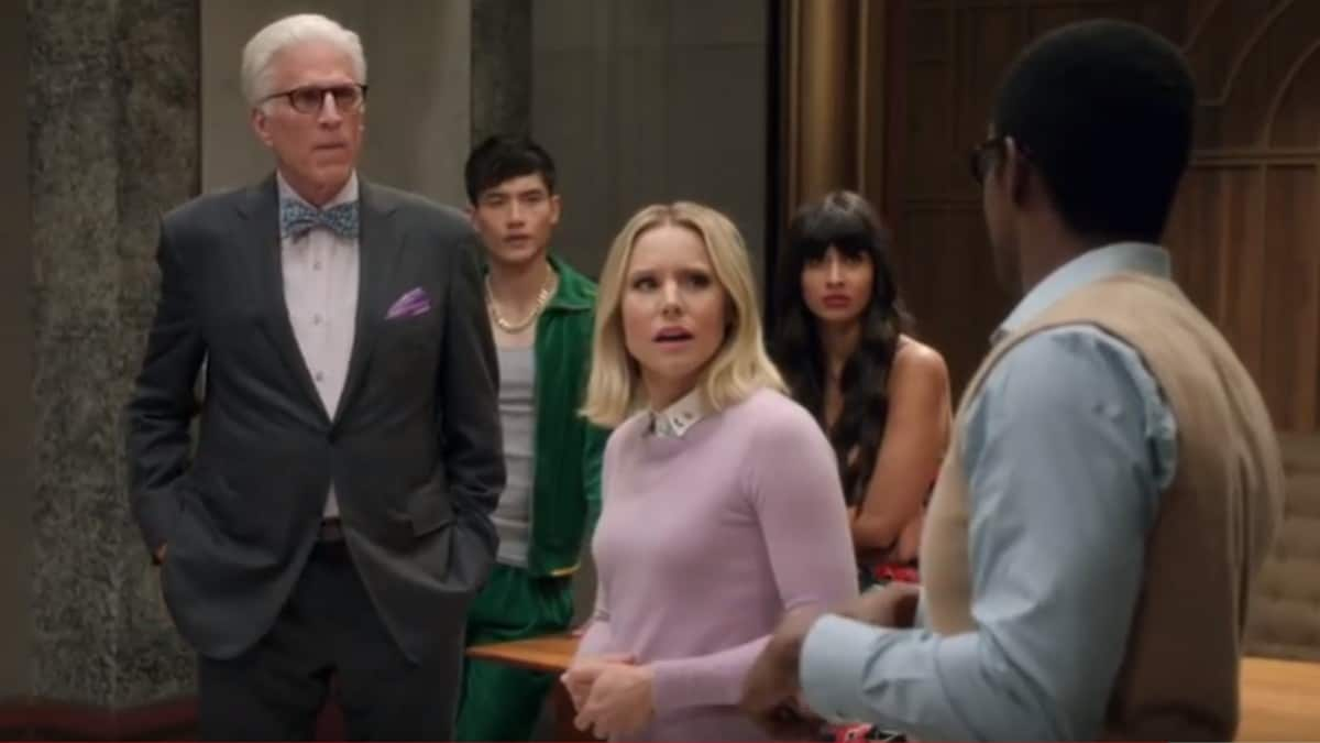 A scene with the main characters on The Good Place