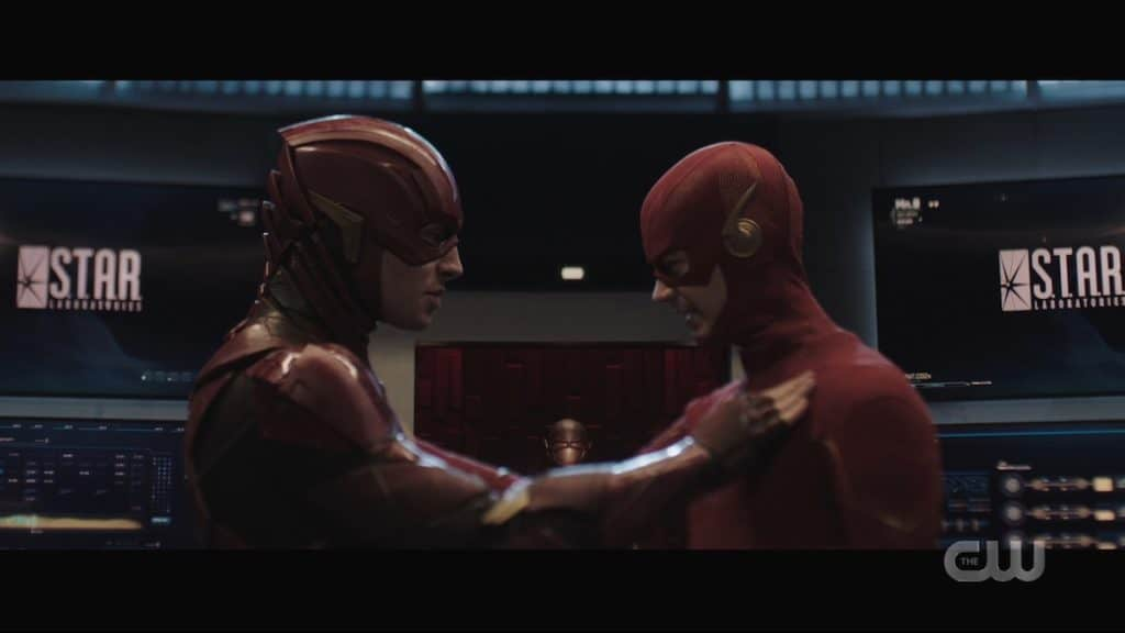 The Flash (Grant Gustin) meets the Flash (Ezra Miller). Pic credit: The CW