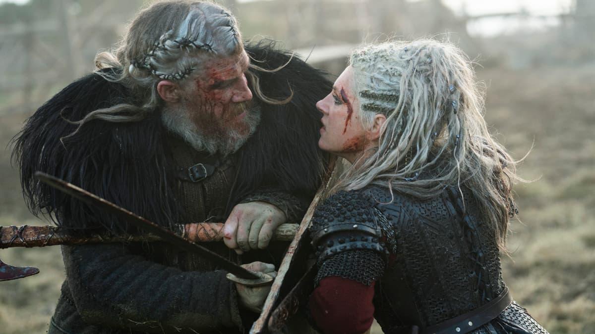 Keiran O'Reilly as White Hair and Katheryn Winnick as Lagertha