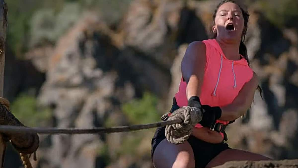 Christina Tabasco doesn't have a chance and this is the screen capture of exactly when she knows she is in the sh**. Pic credit: Discovery