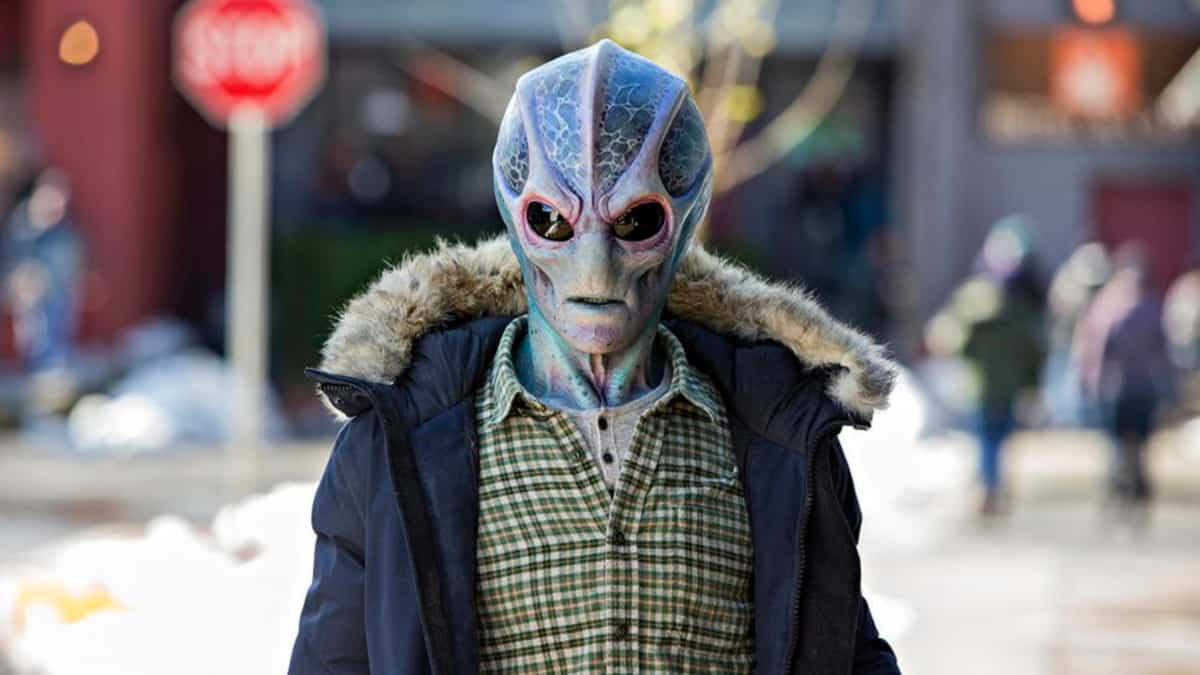 Resident Alien is set in Colorado and the town is full of weird folks and a very disturbing newcomer. Pic credit: Syfy.