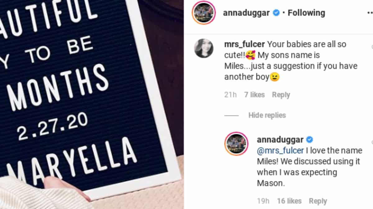 Anna Duggar comments about the name Miles on Instagram.