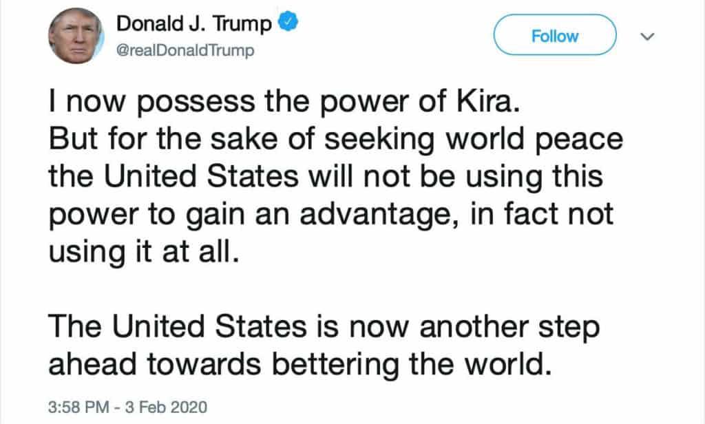 Death Note Donald Trump Tweet Power Of Kira