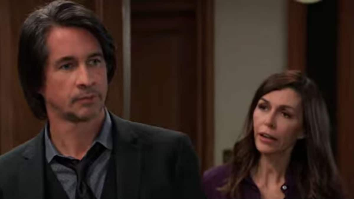 Michael Easton and Finola Hughes as Finn and Anna on General Hospital.