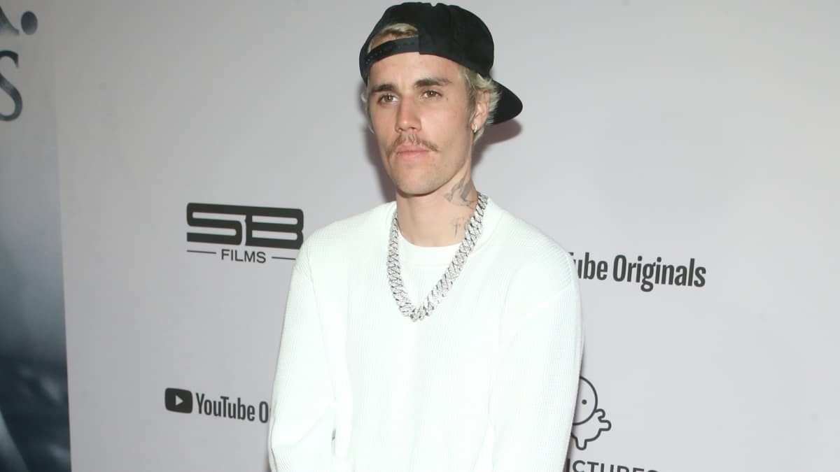 Justin Bieber flaunts his new mustache.