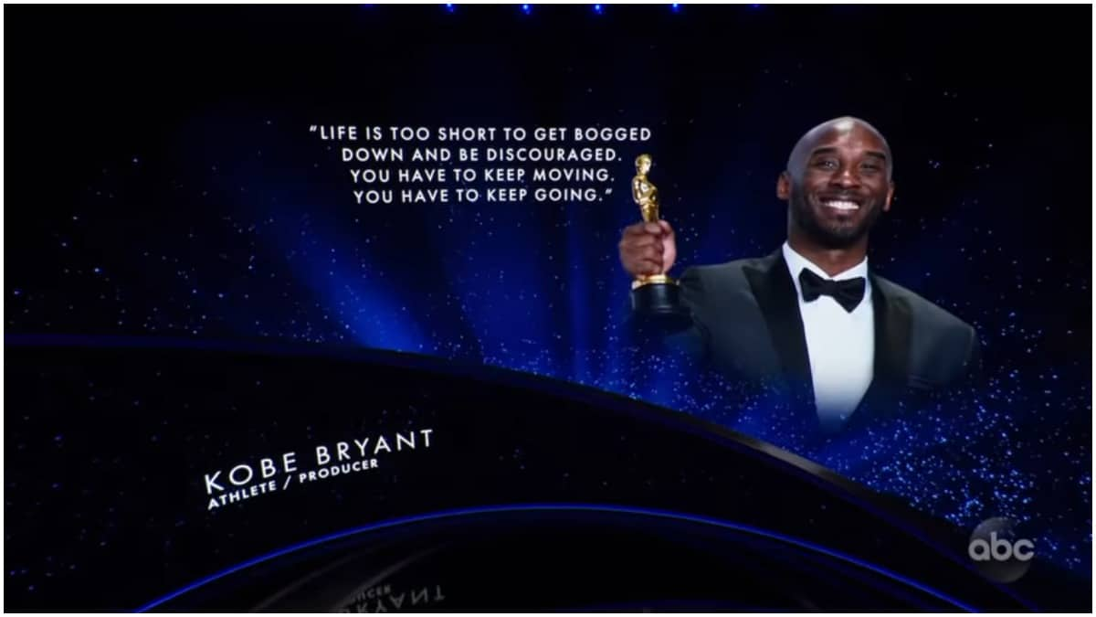 "Kobe was the first person featured in the In Memoriam segment. He was credited as an athlete and producer, and his picture accompanied by the quote: ""Life is too short to get bogged down and be discouraged. You have to keep moving. You have to keep going."""