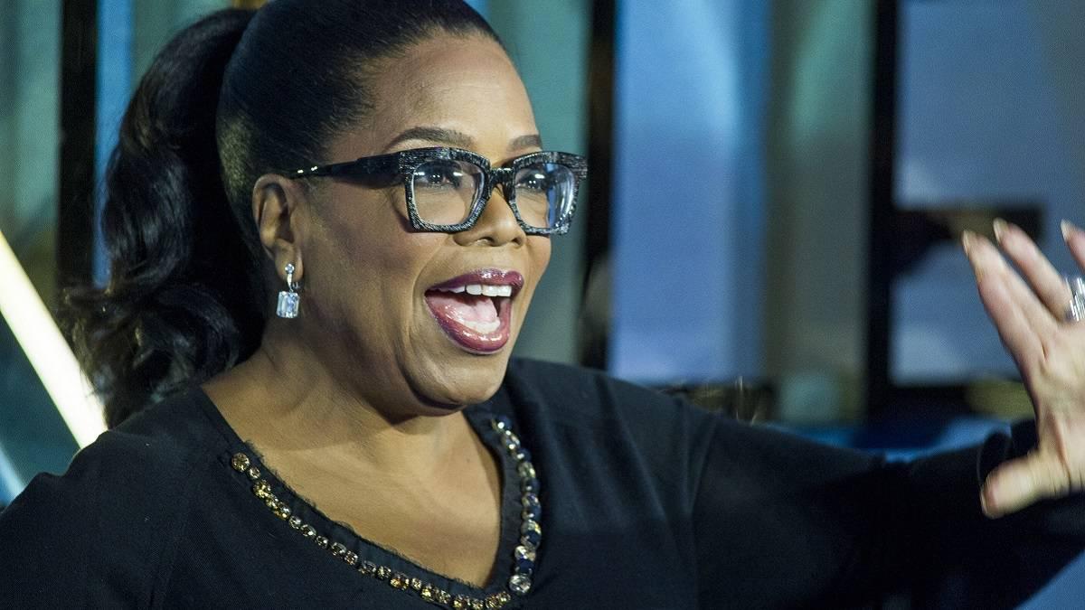 Oprah Winfrey speaks on stage