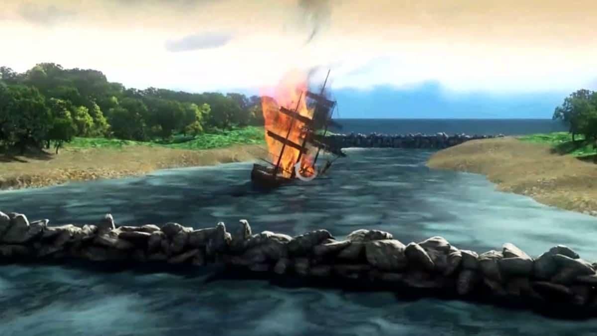Animation of a burning ship