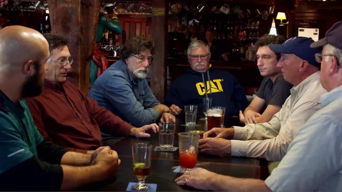Oak Island team in a bar
