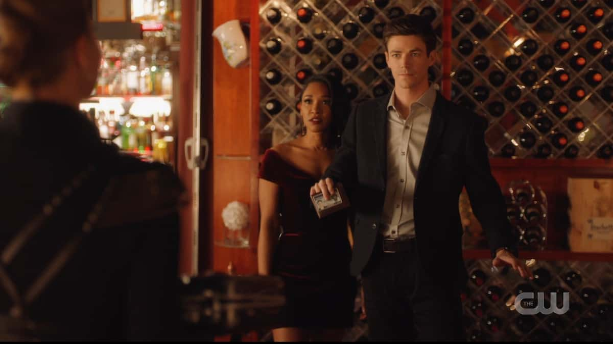 Barry (Grant Gustin) and Iris (Candice Patton) face down Amunet (Katee Sackoff) in The Flash. Pic credit: The CW
