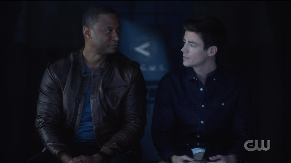 Barry and Dig have a heart-to-heart after Oliver's death. Pic credit: The CW