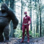Barry (Grant Gustin) and Grodd (David Sobolov) team up to save each other on The Flash. Pic credit: The CW