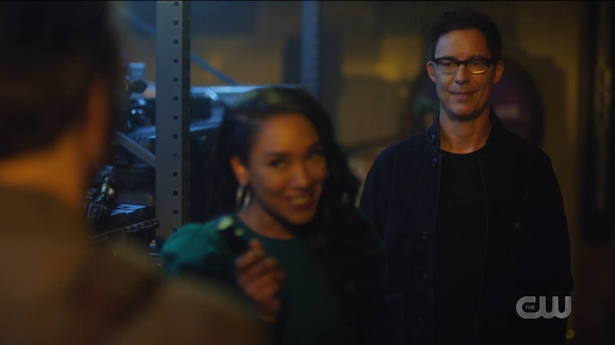 Iris (Candice Patton) talks to Nash Wells (Tom Cavanagh) as he's haunted by the spectre of Harry Wells (Tom Cavanagh) on The Flash. Pic credit: The CW