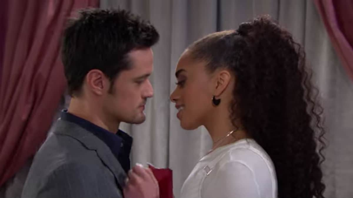 Matthew Atkinson and Kiara Barnes as Thomas and Zoe on The Bold and the Beautiful.