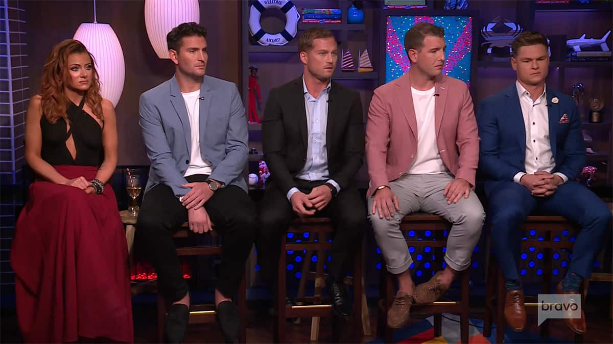 Abby, Tanner, Brian, Kevin, and Ashton sat on one side of Andy Cohen at the Below Deck Season 7 reunion