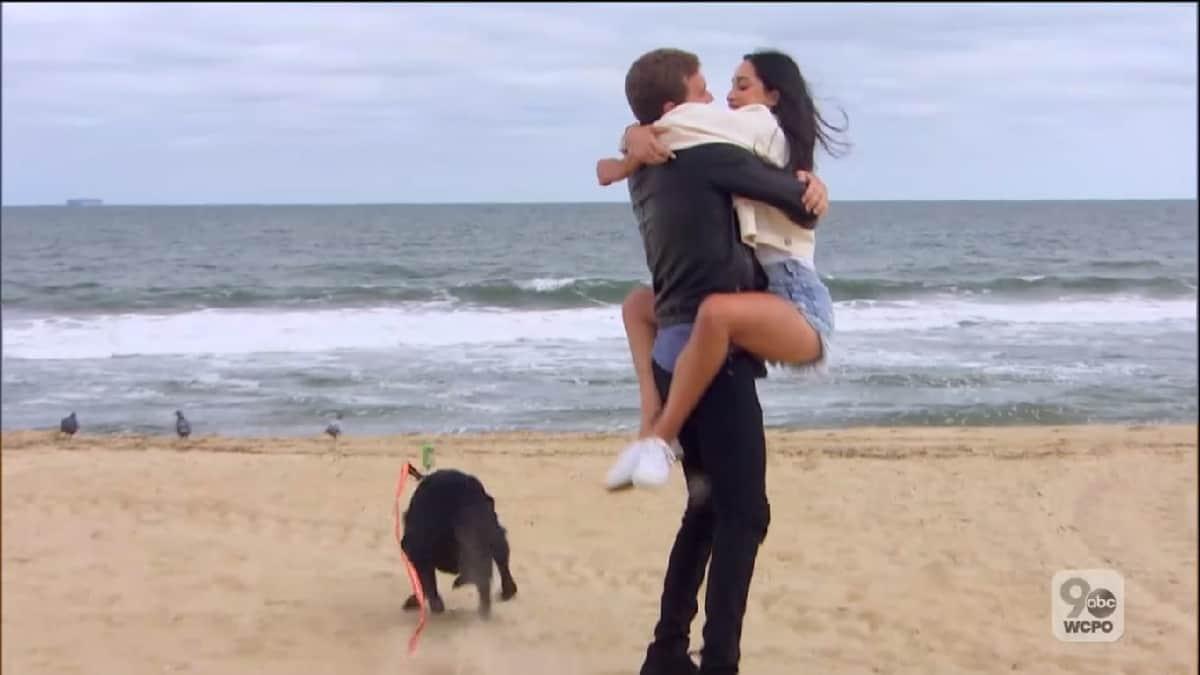 Bachelor Peter Weber and Victoria Fuller hug in Virginia Beach
