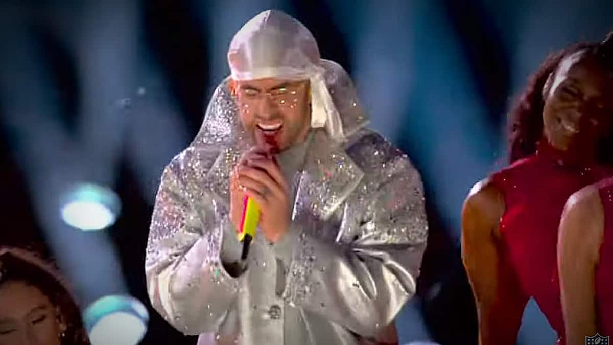 Bad Bunny showed off his rap skills while he performed with Shakira at Super Bowl. Pic credit: NFL