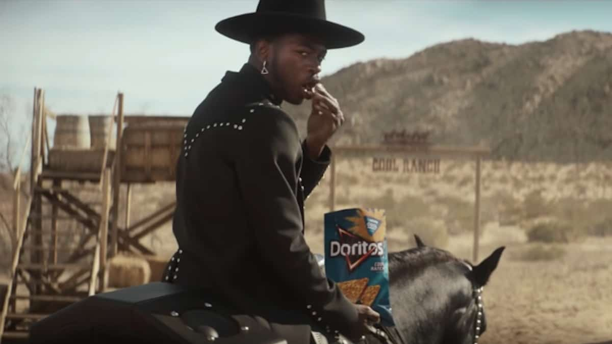 lil nas x and sam elliott in doritos commercial for super bowl sunday