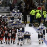 st louis blues jay bouwmeester collapses on team bench
