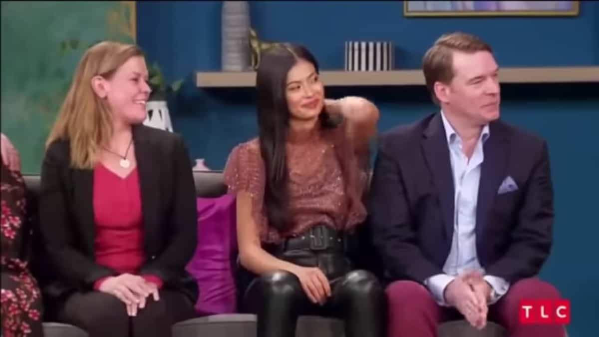 Michael, ex-wife Sarah, and current wife Juliana at the 90 Day Fiance Tell All. Pic credit: TLC