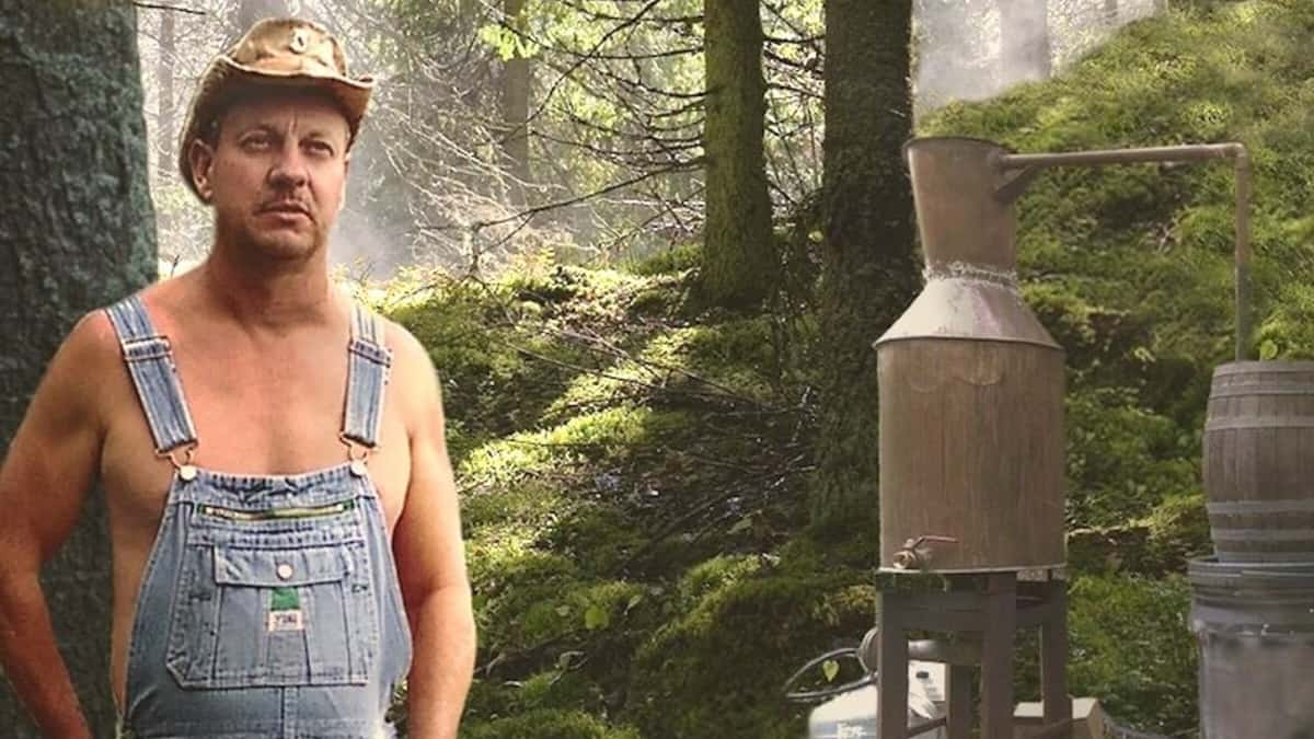 Discovery Moonshiners star Tim Smith certainly isn't blowing his hard earned dough on shirts. Pic credit: Discovery