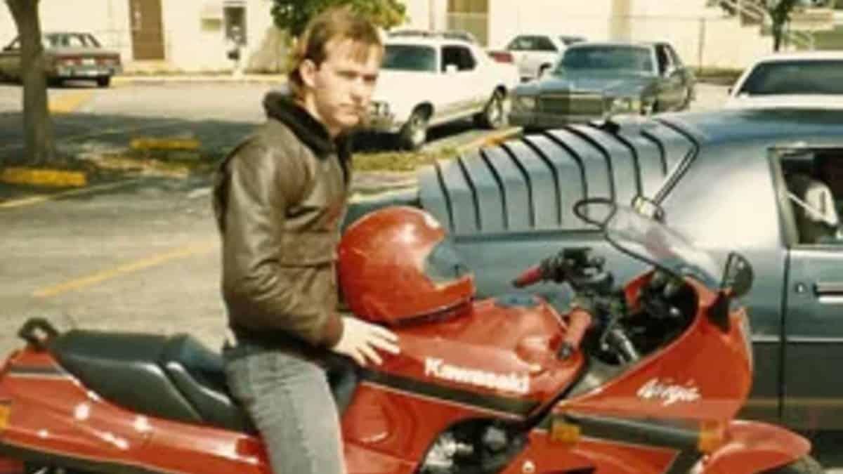 "William ""Patrick"" Alexander on a motorbike"