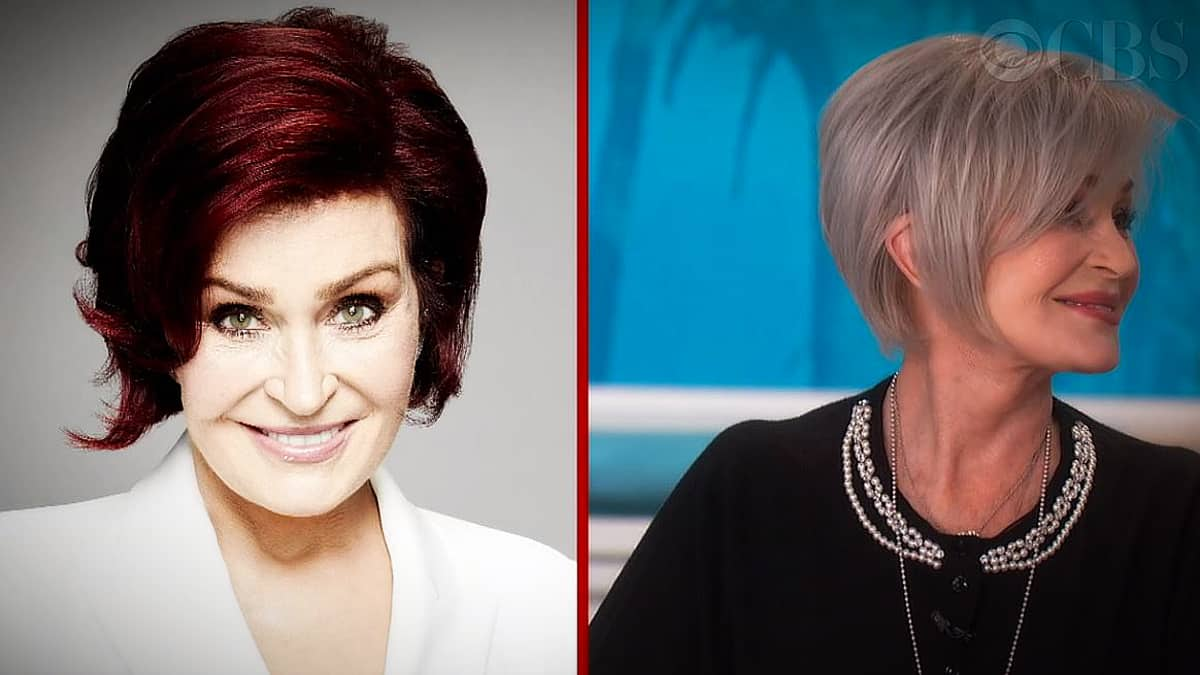 The Talk had the perfect side by side shot of Sharon Osbourne's new haircolor thanks to Jack Martin. Pic credit: CBS.