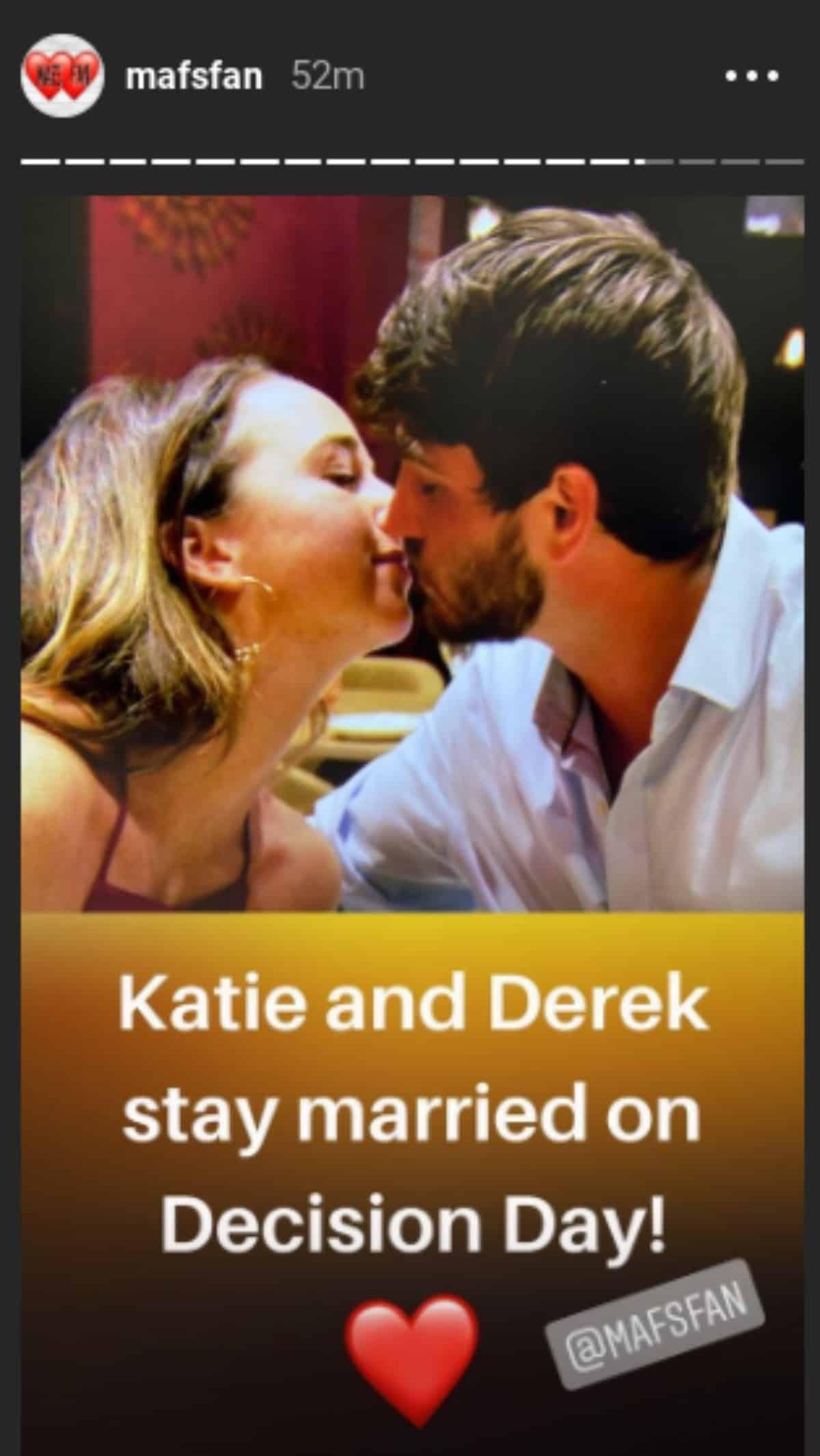 Katie and Derek kissing