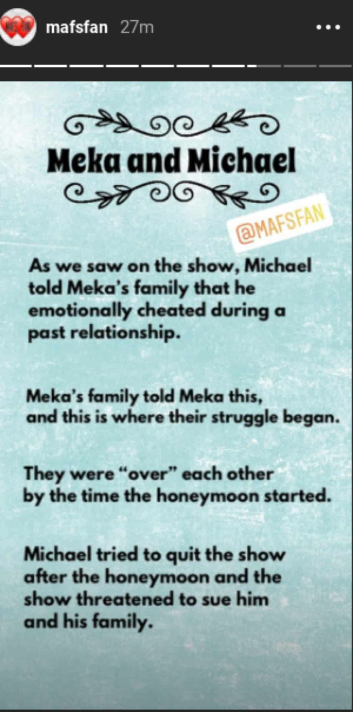 Michael and Meka spoilers shared by Mafsfan on Instagram