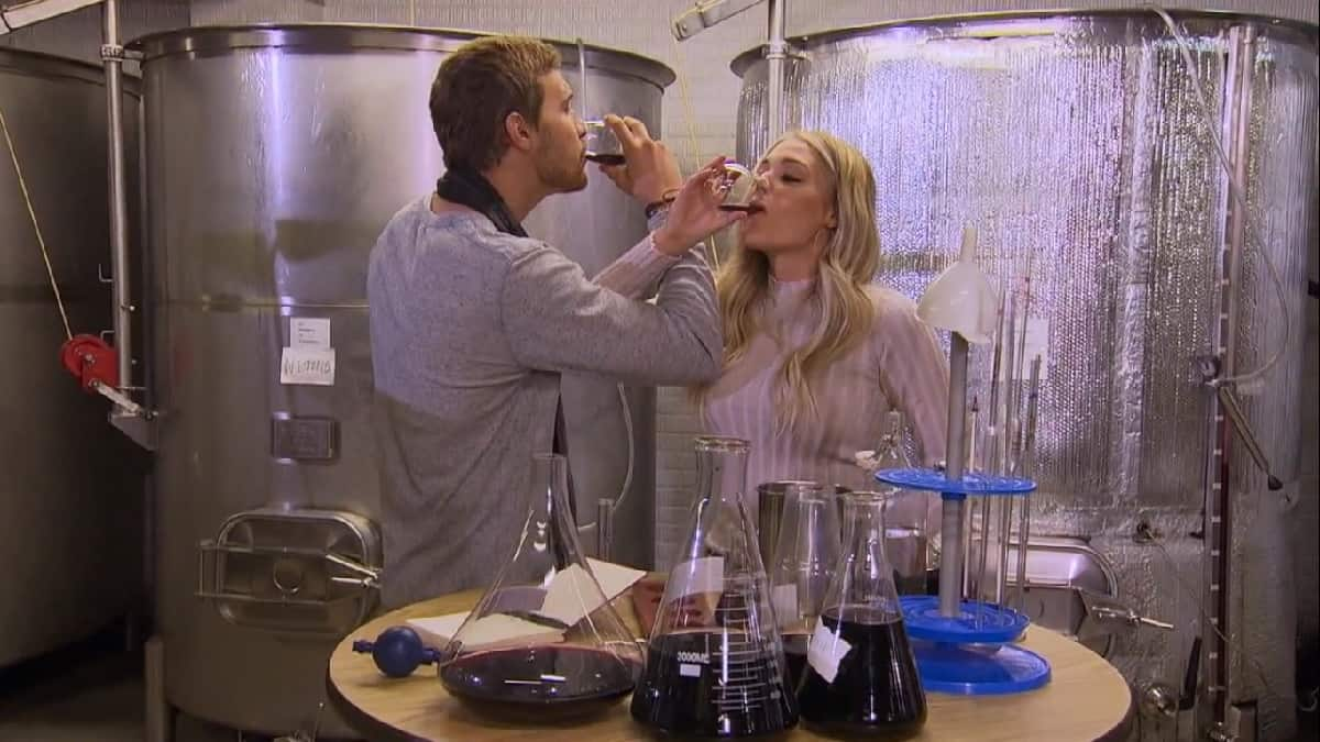 The Bachelor Peter Weber and Kelsey drink wine on their hometown date