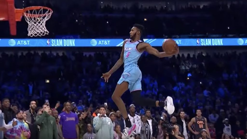 derrick jones jr in the nba slam dunk contest 2020
