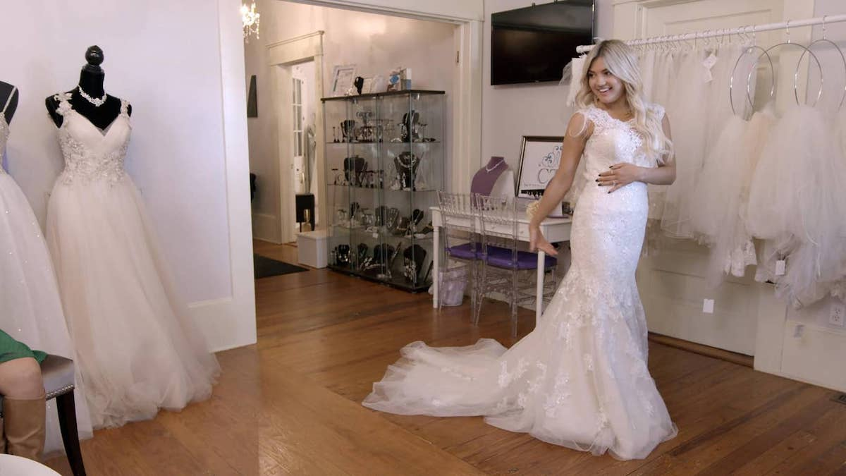 Love is Blind's Giannina stands in a wedding dress ahead of her wedding
