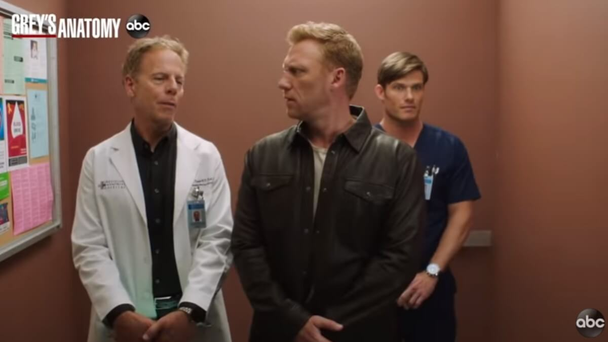 Actors on the set of Grey's Anatomy