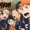 Team members shouting in the Haikyuu anime