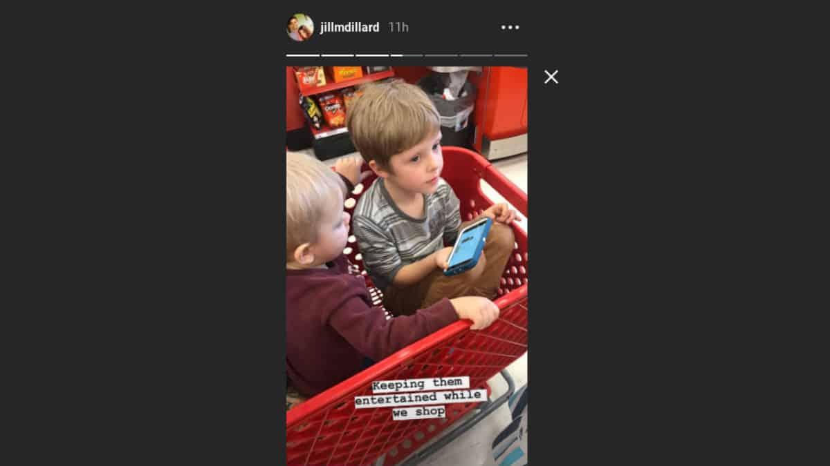 Jill Duggar's kids Israel and Samuel Dillard in a cart at Target.