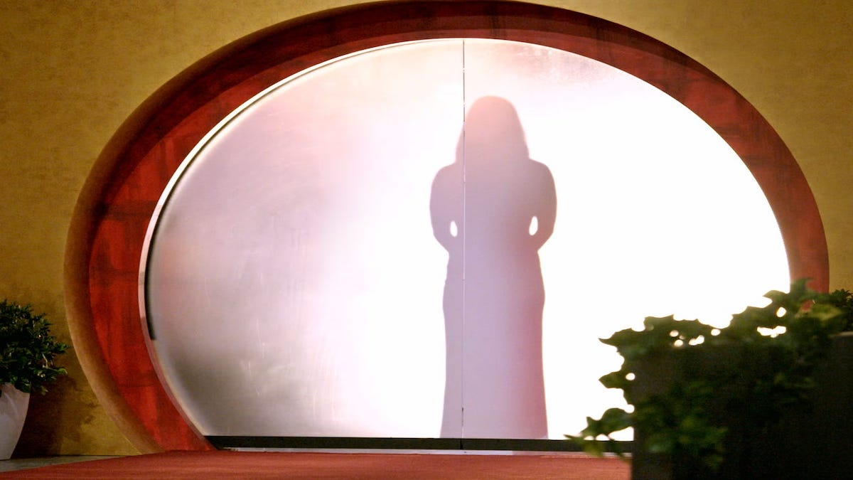 A contestant stands behind a screen ahead of meeting her fiancee