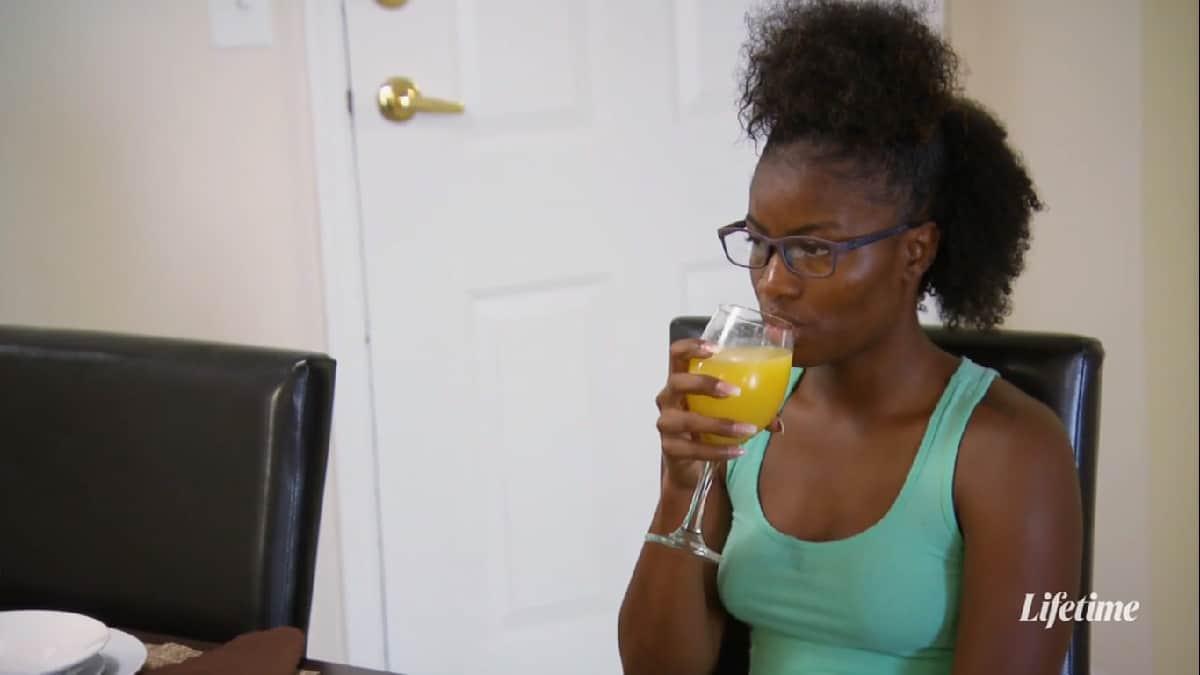 Meka drinks orange juice and looks bored on MAFS anniversary