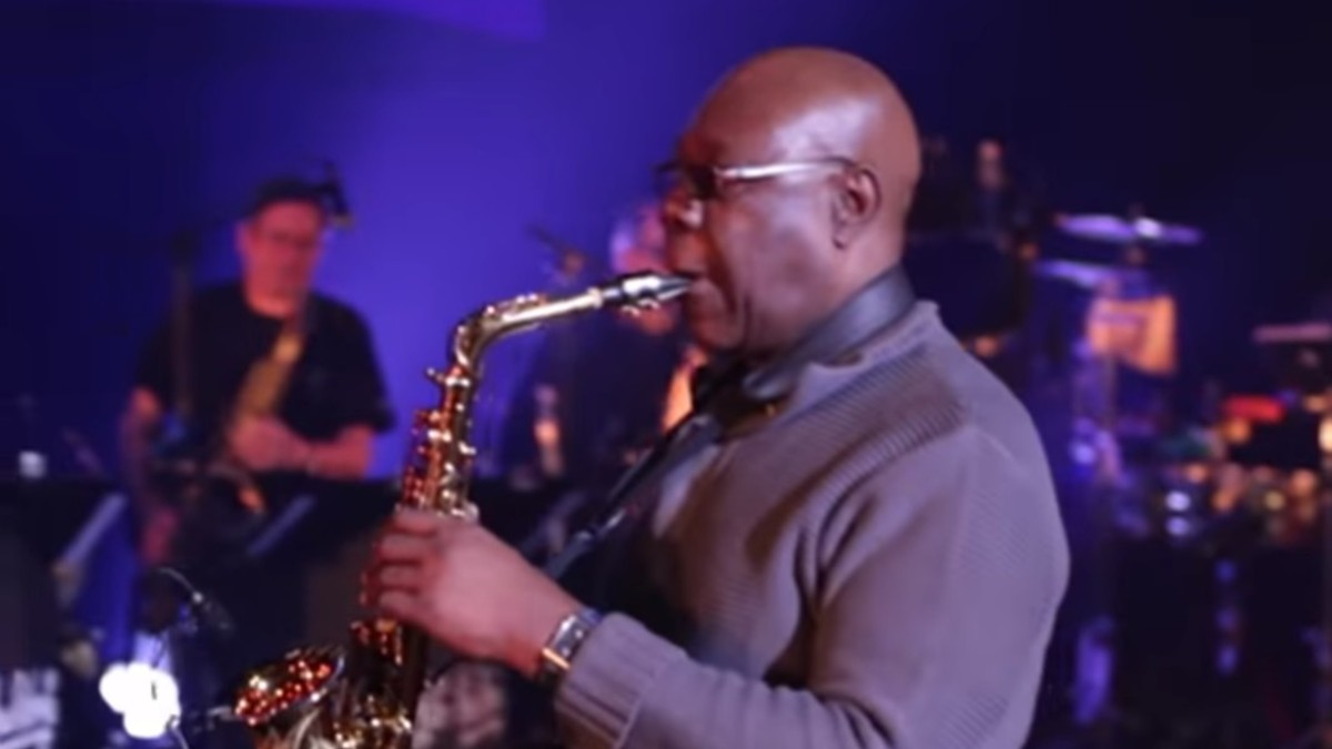 Manu Dibango on stage performing